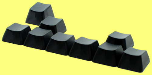 MAX9-TBL1-BLANK - Black Translucent Cherry MX Blank Keycap Set x9