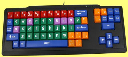 EL1-BCOL-LC - Startaboard Large Multi-Coloured Lower Case Key Black Keyboard