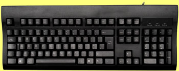 KBC-105USB/PSB - Black USB keyboard, incorporating a PS/2 mouse port