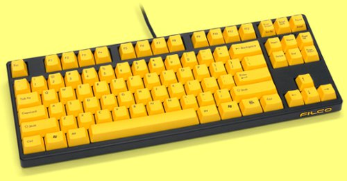 FKBN87M/EY2 - Filco Majestouch-2, Tenkeyless, NKR, Tactile Action, USA, Yellow Key Keyboard
