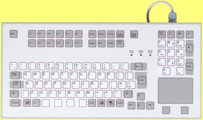 K-548-BT9 - IP65 Sealed keyboard - suitable for rack mounting, with built in Touchpad, PS/2