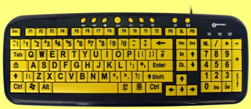 KBC-KBS-YEL - Large Yellow Key Black Print Keyboard