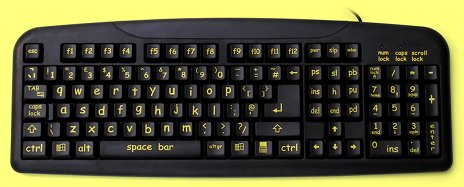 KBC-240YB-LC - Large Yellow, Lower Case Print, Black Keyboard