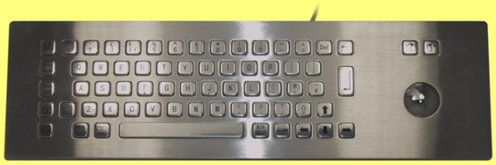 KBC-299B-2 - Stainless Steel IP65 Panel Mount Industrial Trackball Keyboard - Over Panel
