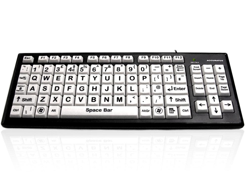 Large Key Black on White Keyboard with 2 Port USB Hub