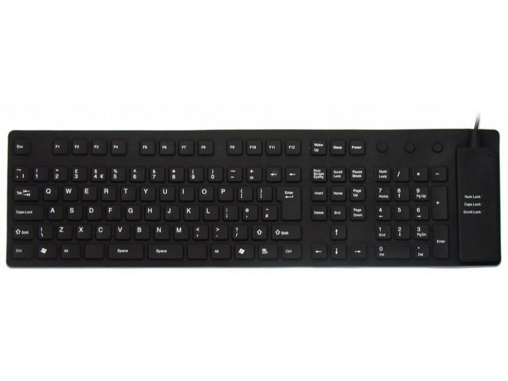 Flexible full sized (roll-up) keyboard
