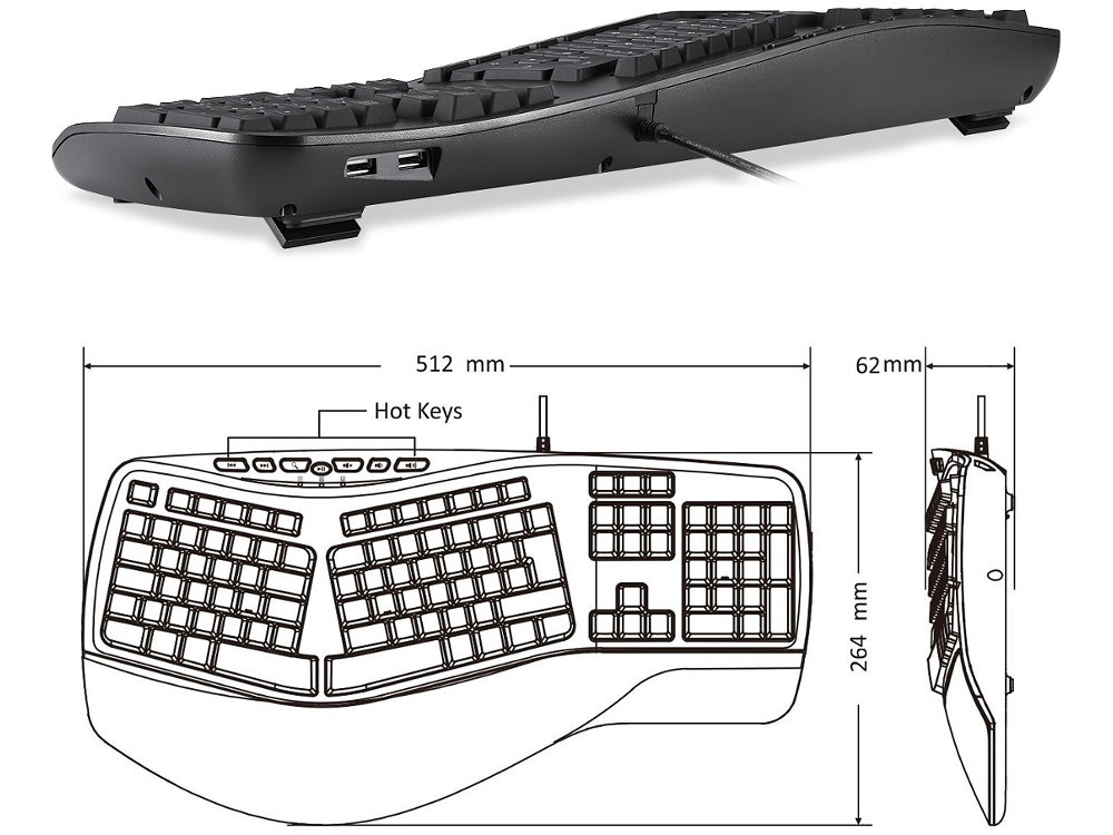 Full Size Ergonomic Backlit Hub Keyboard