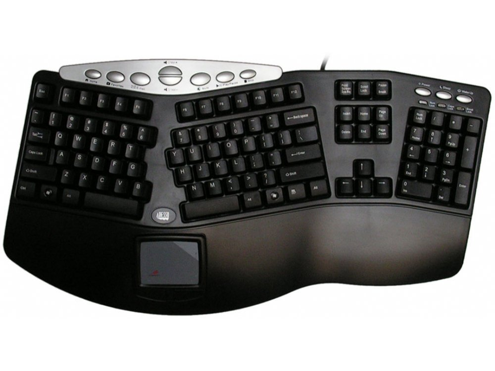 Tru-Form Pro Ergonomic Keyboard with Built-In Touchpad, USA, picture 1