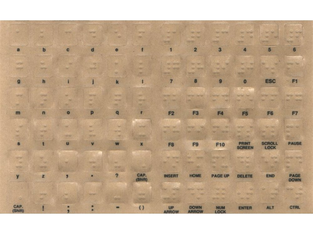 Transparent Keyboard Overlay Sticker Set, Braille