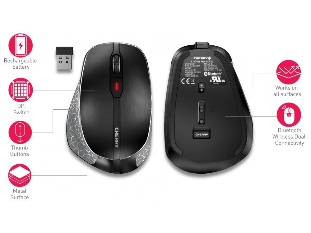 CHERRY Bluetooth & Wireless Mouse MW 8 ERGO