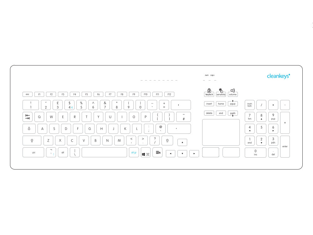 Cleankeys Glass Easy Clean Medical Touchpad Keyboard