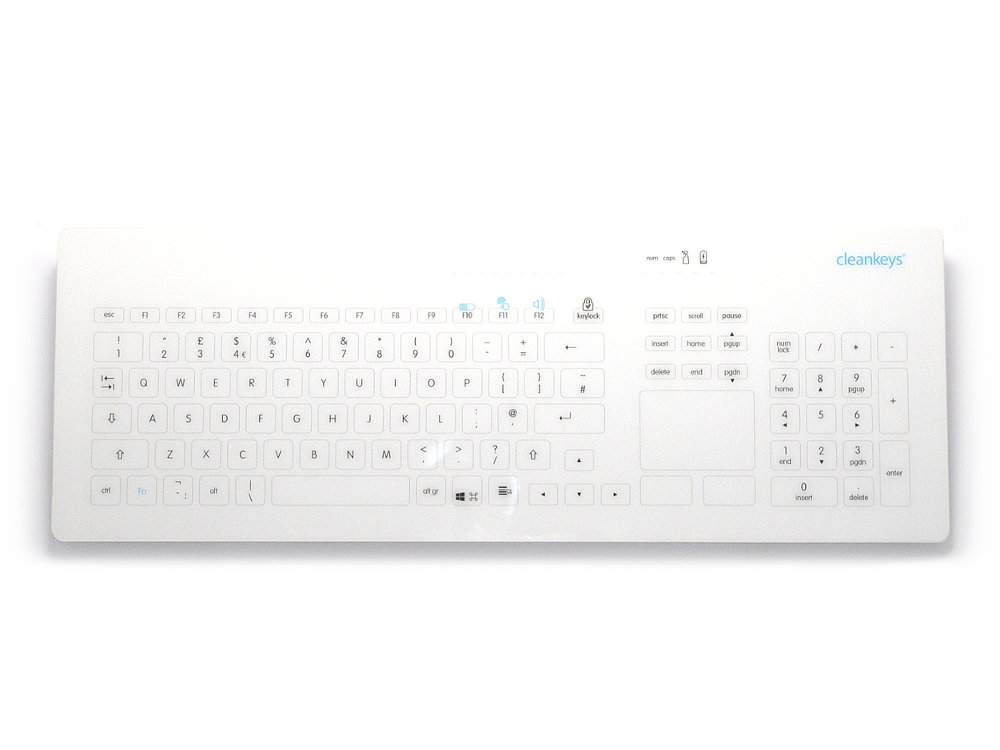 Cleankeys Wireless Glass Easy Clean Medical Touchpad Keyboard