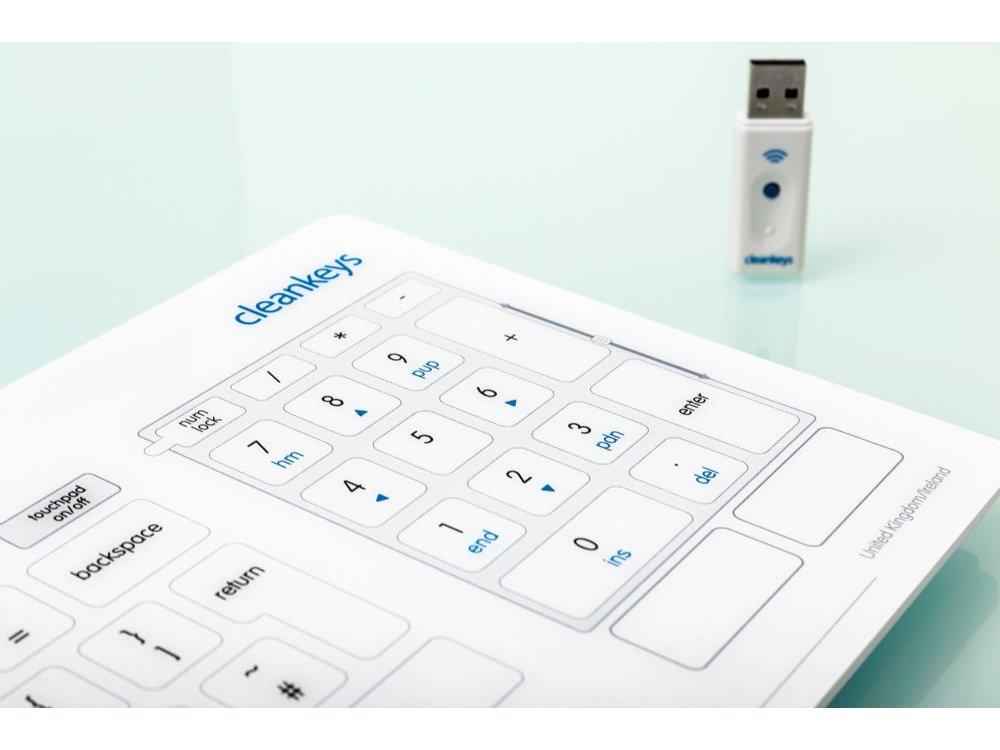 Cleankeys Wireless Glass Easy Clean Medical Keyboard
