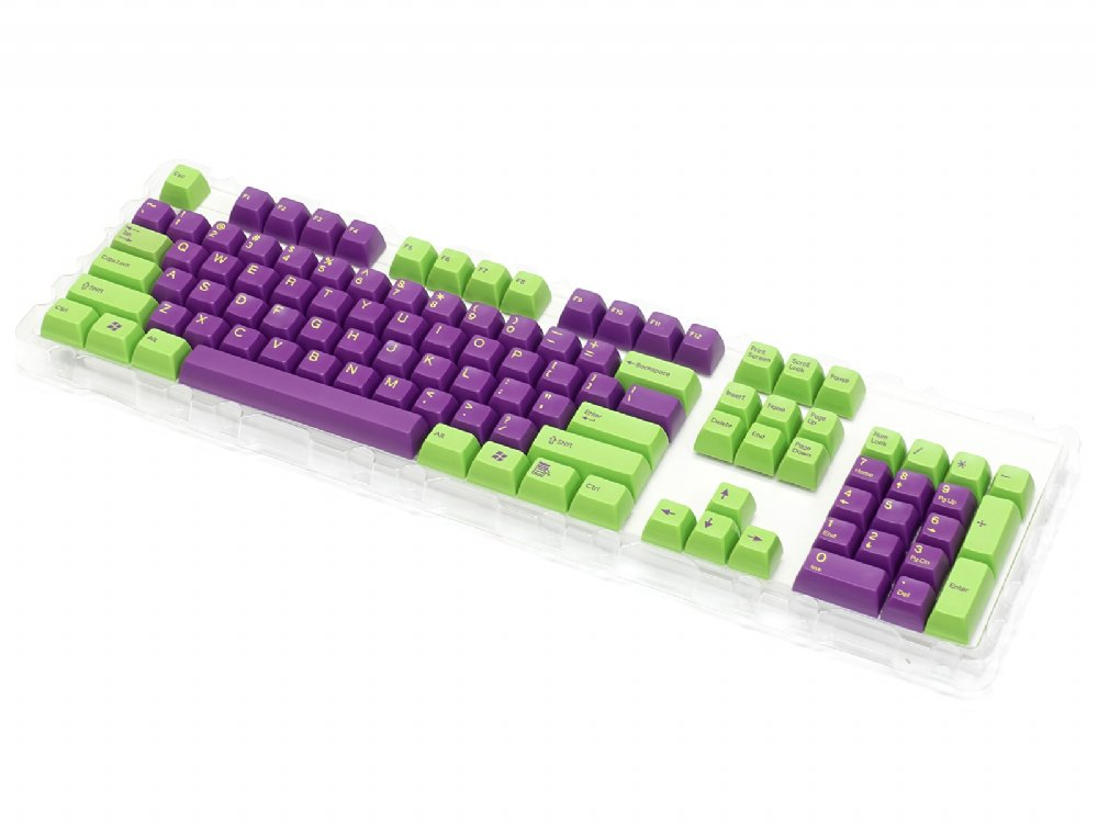 Double Shot Filco 104 Key USA Keyset, Green & Purple, picture 3