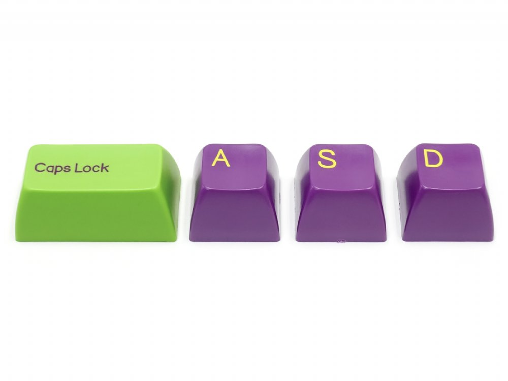 Double Shot Filco 104 Key USA Keyset, Green & Purple