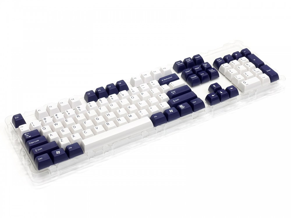 Double Shot Filco 104 Key USA Keyset, Navy Blue & White