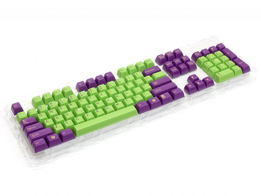 Double Shot Filco 104 Key USA Keyset, Purple & Green