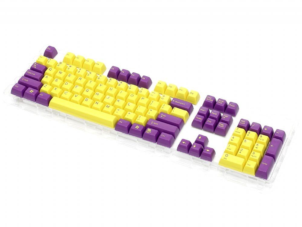Double Shot Filco 104 Key USA Keyset, Purple & Yellow