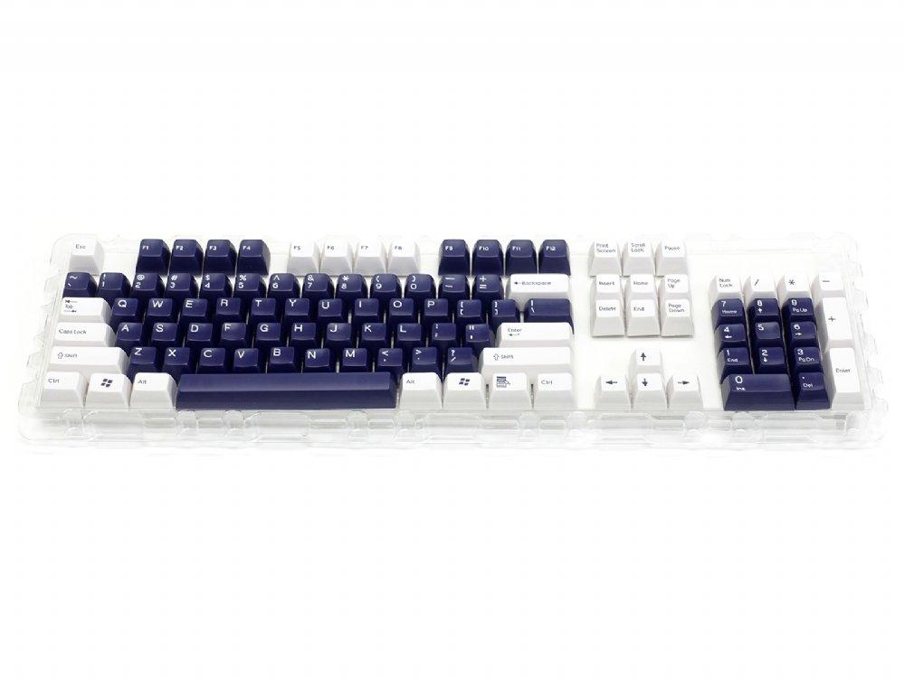 Double Shot Filco 104 Key USA Keyset, White & Navy Blue