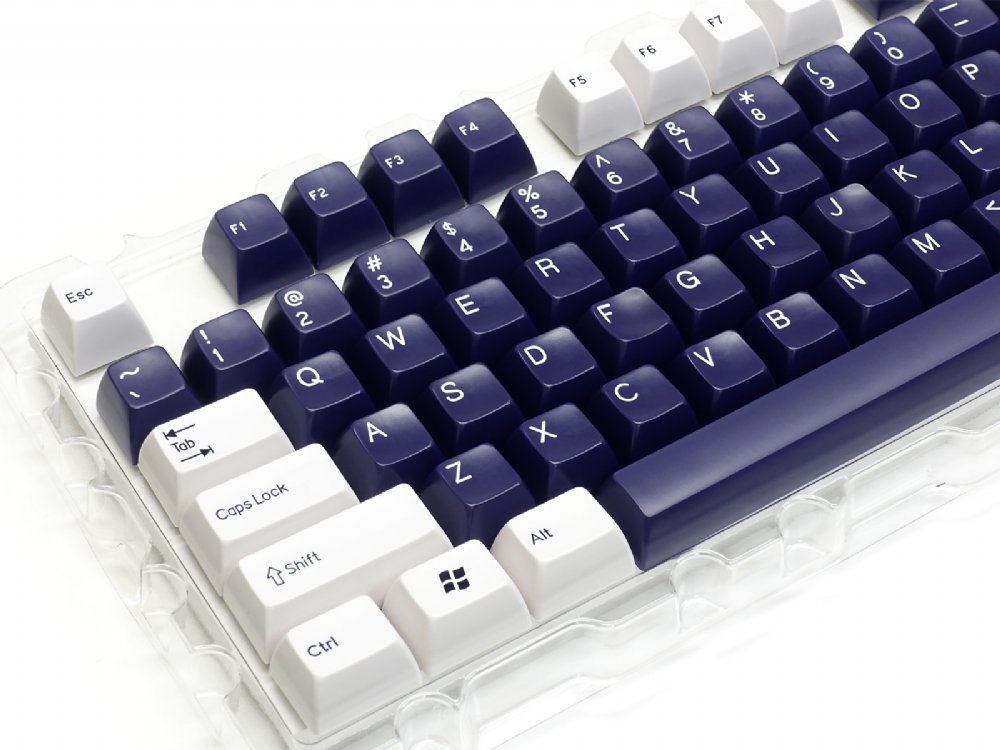 Double Shot Filco 104 Key USA Keyset, White & Navy Blue