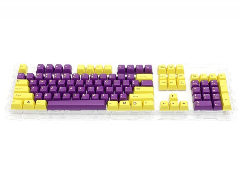 Double Shot Filco 104 Key USA Keyset, Yellow & Purple