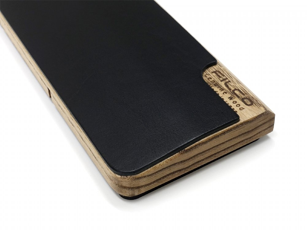 Filco Luxury Black Leather and Genuine Wood Palm Rest Small
