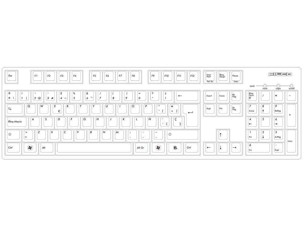 Spanish Filco Majestouch-2, MX Brown Tactile Keyboard