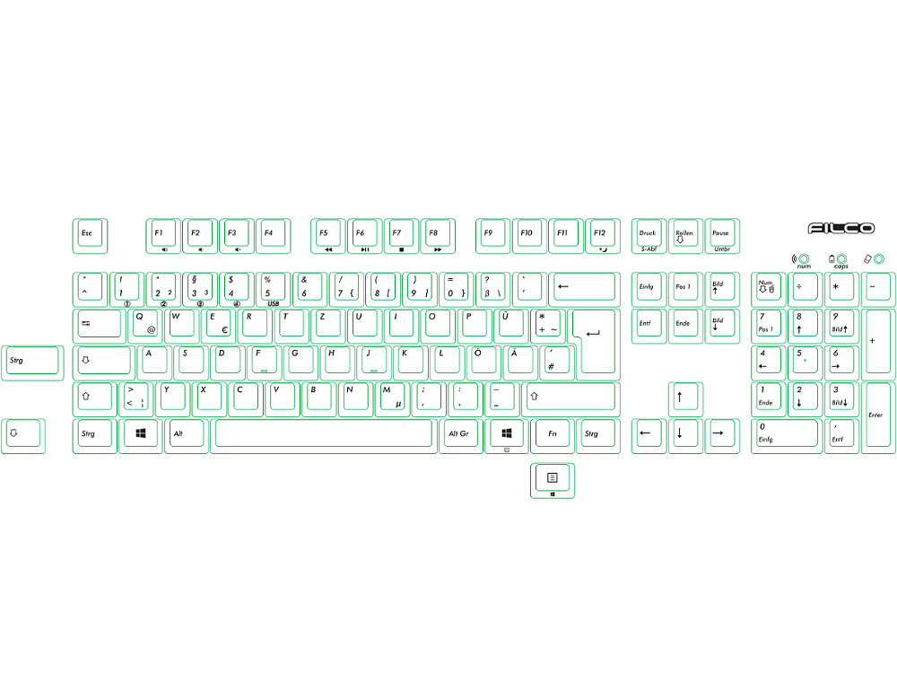 German Filco Convertible 2 Tactile Action Keyboard