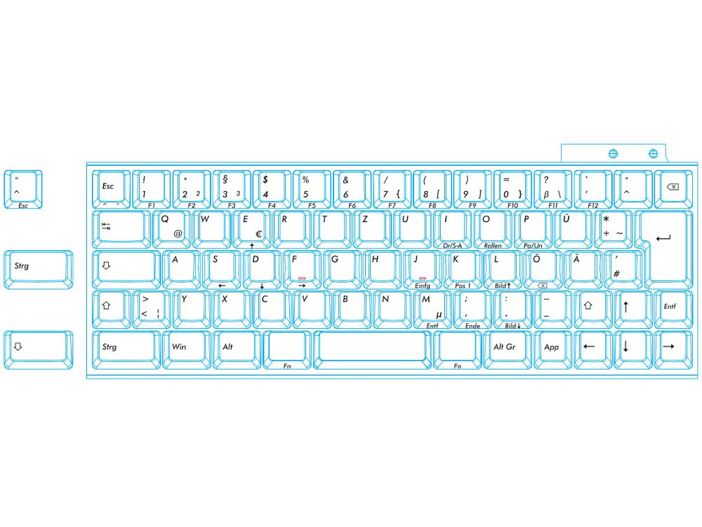 German Majestouch MINILA Air 68 Key MX Brown Tactile Bluetooth Keyboard