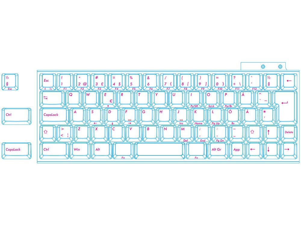 Swedish/Finnish Majestouch MINILA Air 68 Key Soft Linear Action Bluetooth Keyboard, picture 4
