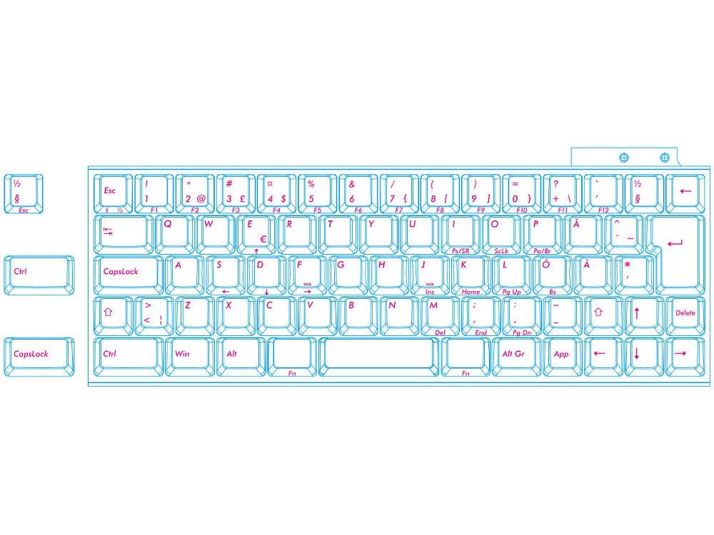 Swedish/Finnish Majestouch MINILA 68 key MX Black Linear Keyboard