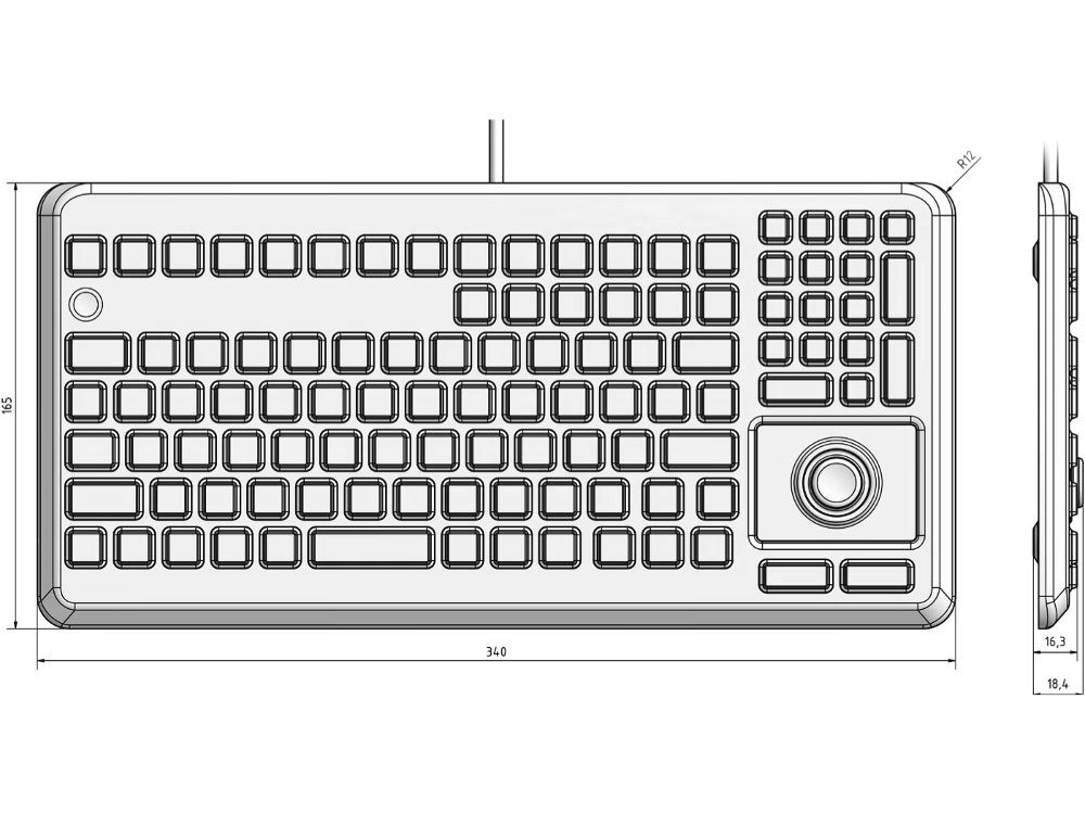 InduKey Induproof Advanced - Compact Silicone Keyboard with Mouse Button IP68 Black