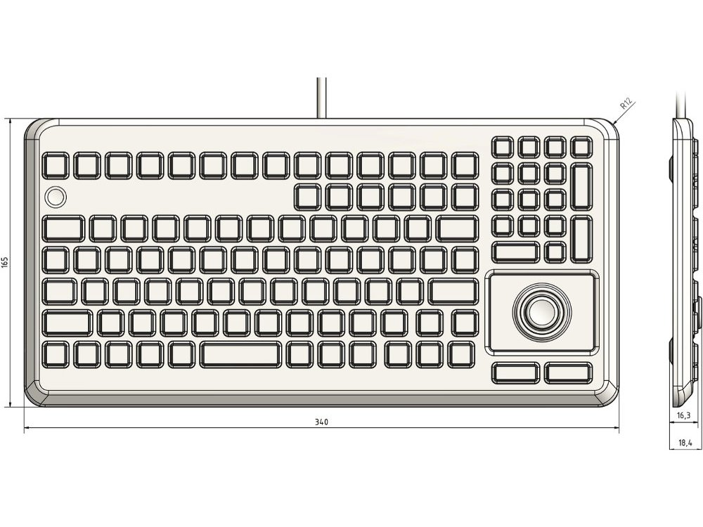 InduKey Induproof Advanced - Compact Silicone Keyboard with Mouse Button IP68, picture 2