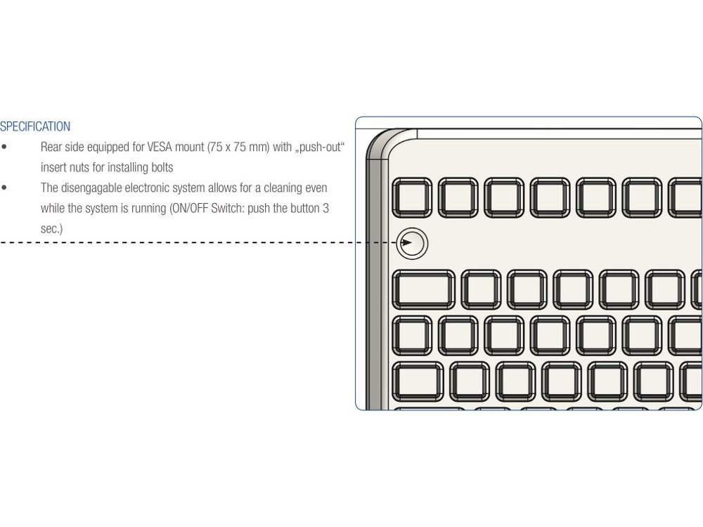 InduKey Induproof Advanced - Compact Silicone Keyboard with Mouse Button IP68, picture 4