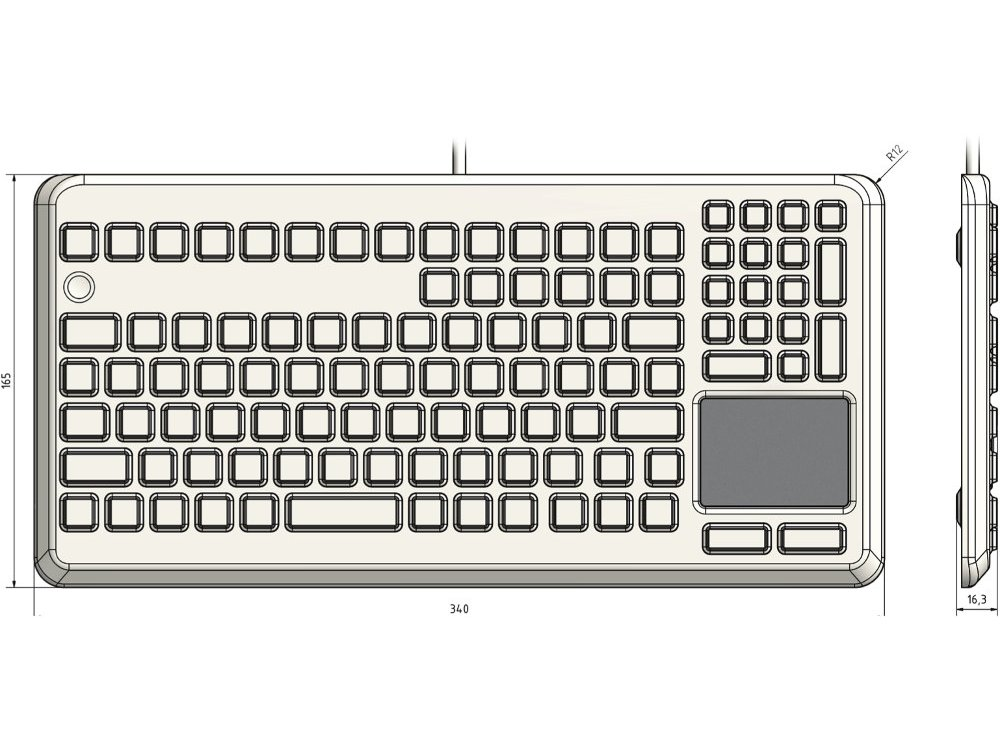 InduKey Induproof Advanced - Compact Silicone Keyboard with Touchpad IP68