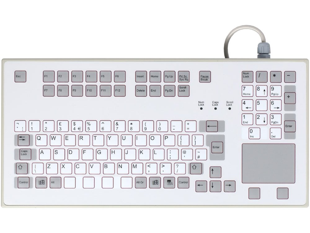 IP65 Sealed keyboard - suitable for rack mounting, with built in Touchpad USB
