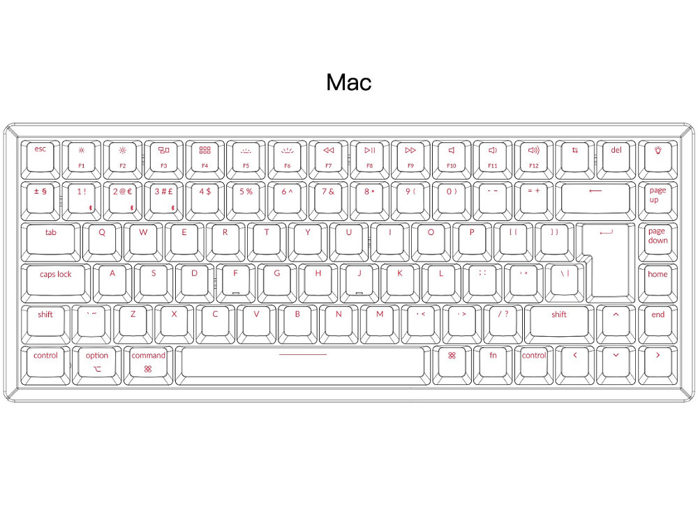 UK K2 Convertible RGB Backlit Click Aluminium Mac Keyboard