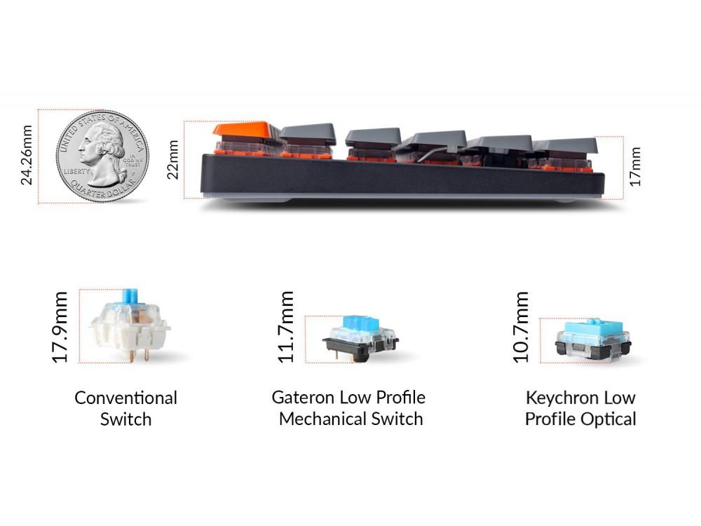 UK Keychron K3v2 Bluetooth Backlit Optical Tactile Ultra-slim Aluminium Mac/PC 75% Keyboard