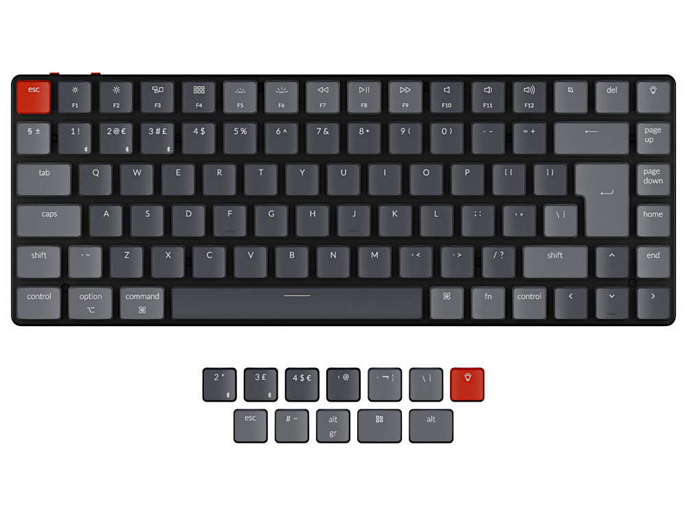 UK Keychron K3v2 Bluetooth RGB Optical Tactile Ultra-slim Aluminium Mac/PC 75% Keyboard