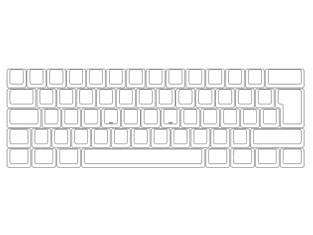Blank ISO V60 60% MX Silent Red Soft Linear Keyboard