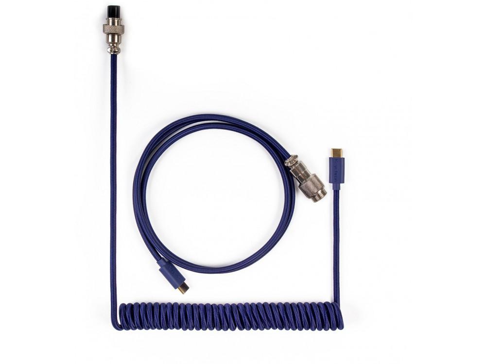 Keychron Custom Coiled Aviator USB-C Cable Blue