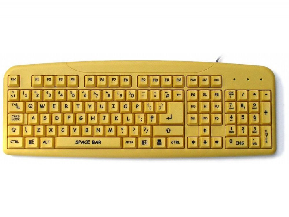 Large Black Print, Yellow Keyboard, picture 1