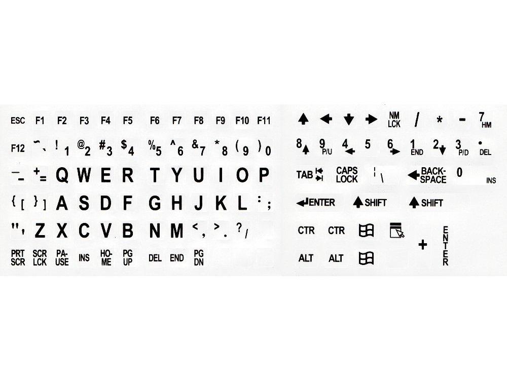 Large legend, self adhesive keycap overlays, black on white