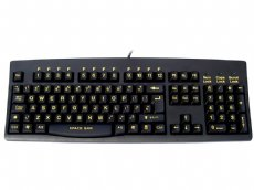 Large yellow print, black keyboard, USB