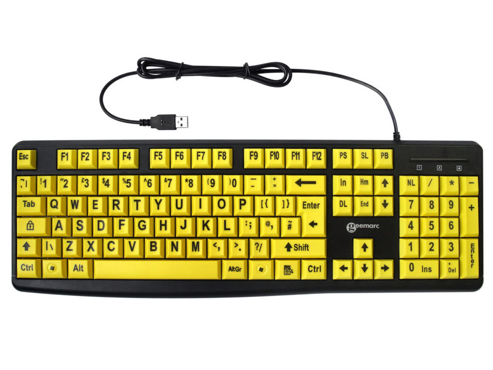 Large Yellow Key Black Print Keyboard