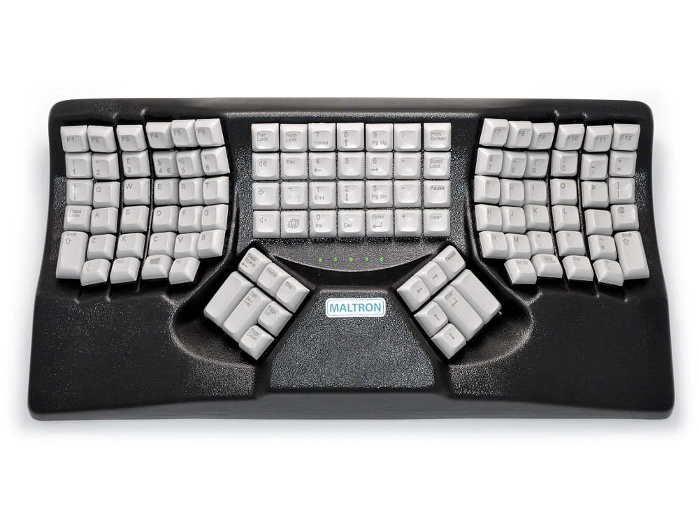 Maltron, Original, Ergonomic Two-Handed Keyboard Black USB