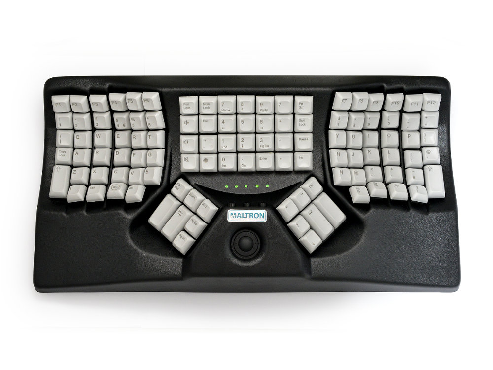 Maltron, Ergonomic Two-Handed Trackball Keyboard Black USB, picture 1
