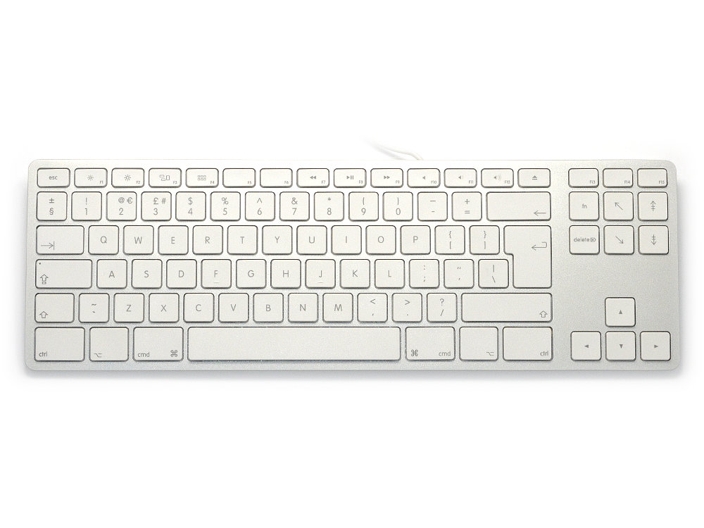 UK Matias Wired Aluminum Tenkeyless Keyboard for Mac Silver