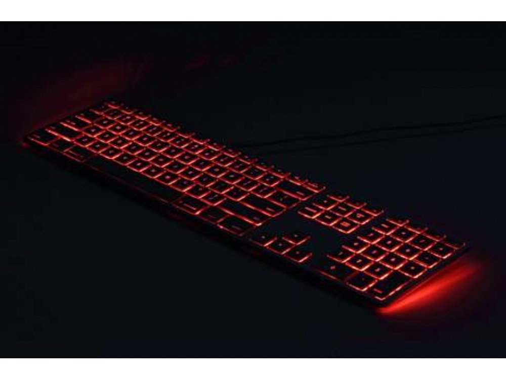 USA Matias Wired Backlit Aluminum Keyboard for PC Black