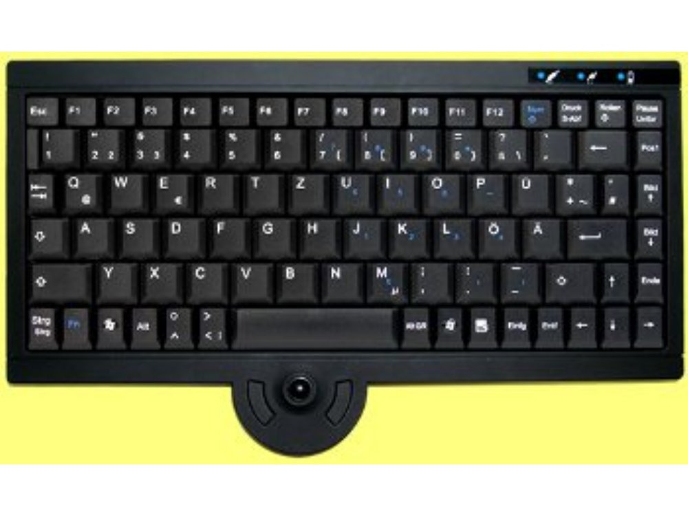 Mini Wireless Keyboard, with built in Mini Trackball Black, picture 1